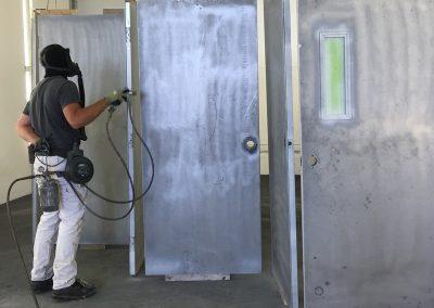 Sandblasting Metal Doors